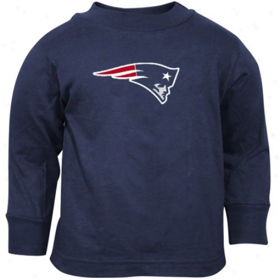 Patriots Apparel: Reebok Patriots Toddler Navy Blue Primary Logi Long Sleeve T-shirt