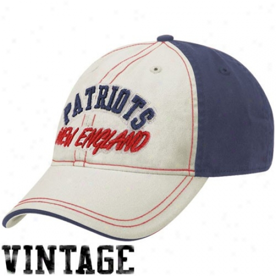 Patriots Cap : Reebok Patriots Natural-navy Pedantic  Arcyed Lettering Adjustable Slouch Cap