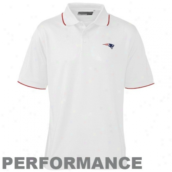 Patriots Golf Shirt : Cutter & Buck Patriots White Drytec Cutter Tipped Performance Golf Shirt