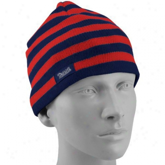 Patriots Hat : Reebok Patriots Ladies Red-navy Blue Striped Team Colors Knit Beanie