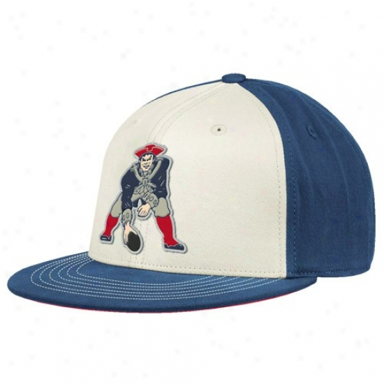 Patriots Merchandise: Reebok Patriots White-royal Blue Throwback 210 Fitted Hat