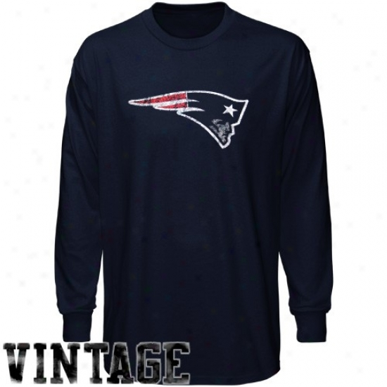 Patriots Shirts : Reebok Patriots Youth Ships Blue Faded Logo Long Sleeve Vintage Shirts