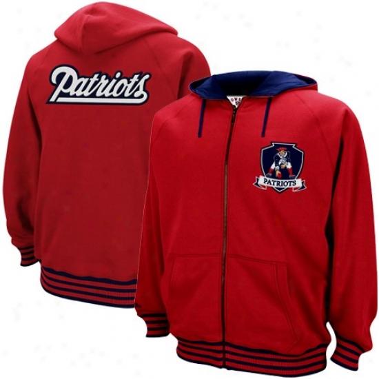 Patriots Stuff: Mitchell & Ness Patriots Red Huddle Up Throwback Full Zil Hoody Sweatshirt