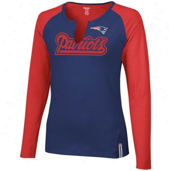 Patriots T-shirt : Reebok Patriots Ladies Nav6 Blue-red High Pitch Long Sleeve Premium T-shirt