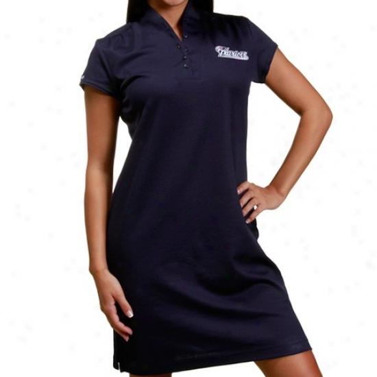 Patriots T-shirt : Reebok Patriots Ladies Navy Blue Shawl Collar Polo Dress