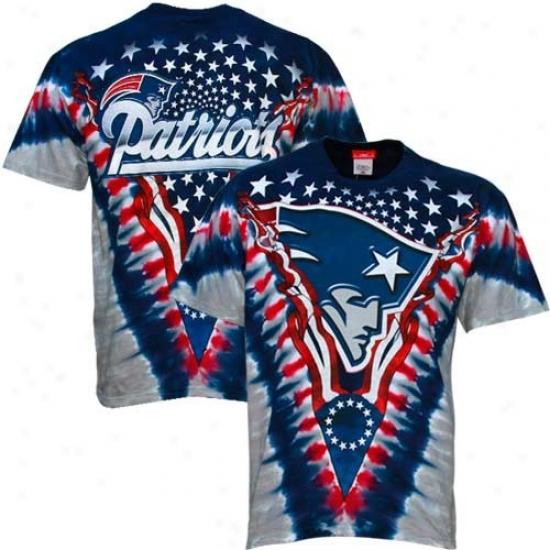 Patriots Tees : Patriots Navy Blue V-dye Logo Tees