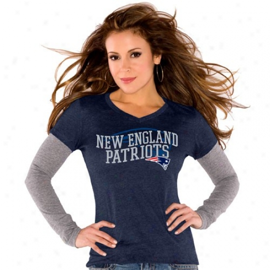 Patriits Tees : Touch By Alyssa Milano Patripts Ladies Navy Blue Double Layer V-neck Triblend Premium Tees