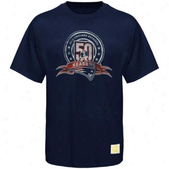 Patriots Tshirts : Reebok Patriots Navy Blue 50th Annuversary Distressed Patch Tshirts