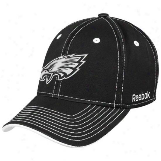 Philadelphia Eagle Hats : Reebok Philadelphia Eagle Black Plojgh Flex Fit Hats