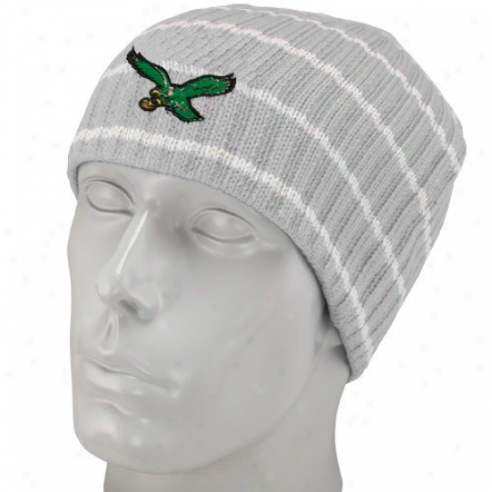 Philadelphia Eagle Hats : Reebok Philadelphia Eagle Gray Stripee Vintage Knit Beanie