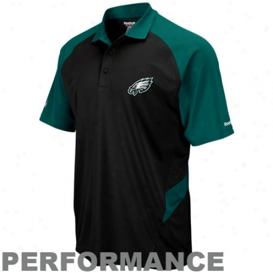 Philadelphia Eagle Polo : Reebok Philadelphia Eagle Black-green Performance Sideline Team Polo