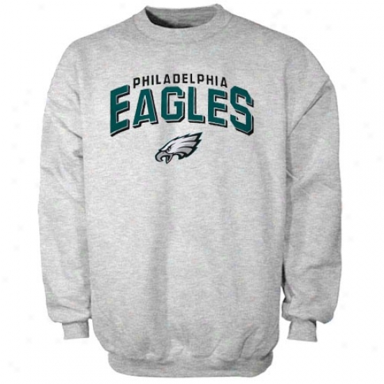 Philadelphia Eagle Sweat Shirt : Reebok Philadelphia Eagle Ash Goal Line Crew Sweat Shirt