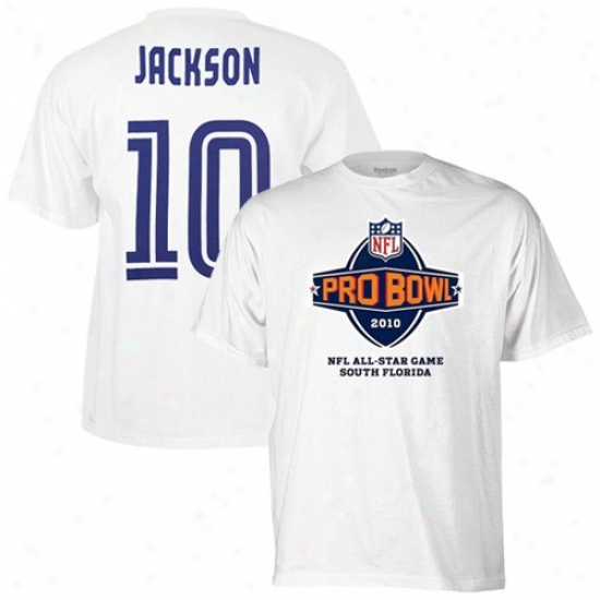 Philadelphia Eagle T Shirt : Reebok 2010 Pro Bowl Philadelphia Eagle White #10 Desean Jackson Player T Shirt