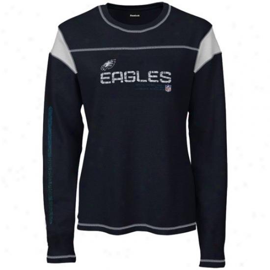 Philadelphia Eagle T Shirt : Reebok Philadelphia Eagle Ladies Black Sideline Tacon Too Waffle Long Sleeve T Shirt