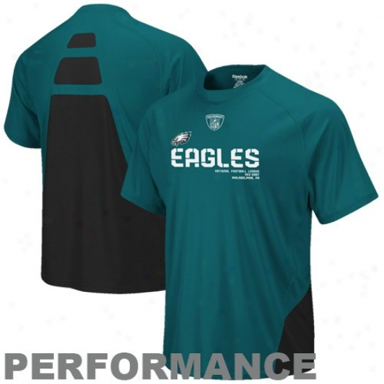 Philadelphia Eagle Te3 : Reebok Philadelphia Eagle Green Conflicg Sideline Performance Tee