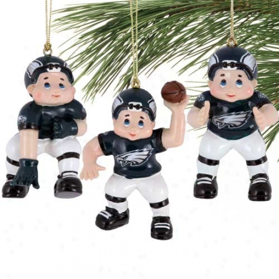 Philadelphia Eagles 3-pack Football Players Resin Ornaments