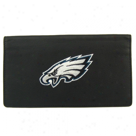 Philadelphia Eaglss Black Embroidered Checkbook Cover