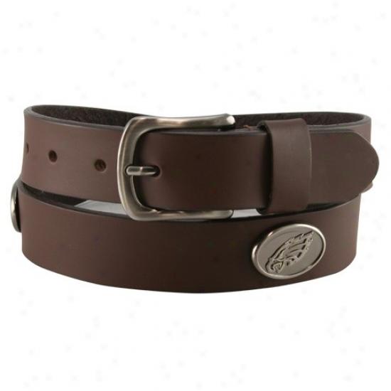 Philadelphia Eagles Brown Leather Concho Belt
