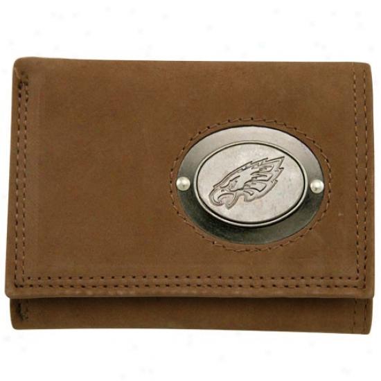 Philadelphia Eagles Brown Leather Metal Emblem Tri-fold Wallet