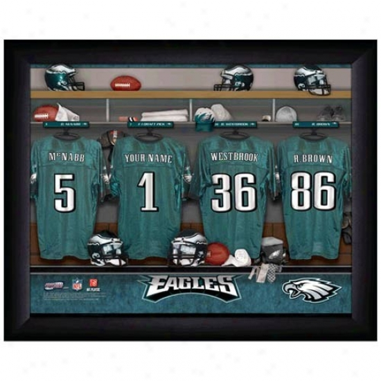 Philadephia Eagles Customized Locker Room Black Framed Photo