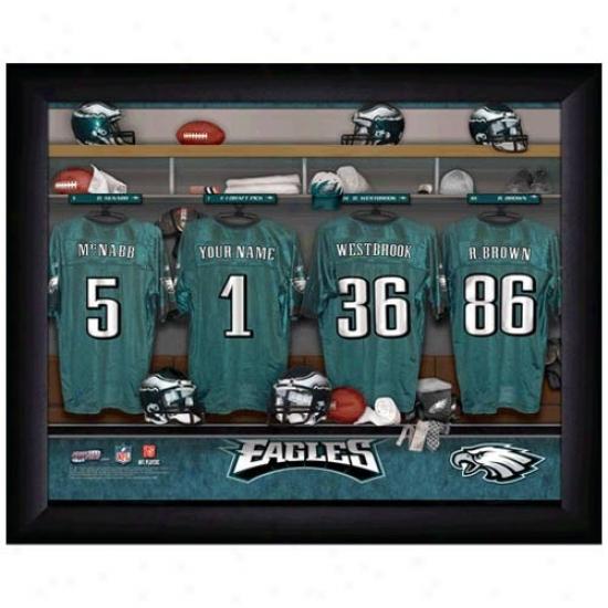Philadephia Eagles Customized Locker Room Black Framed Photo