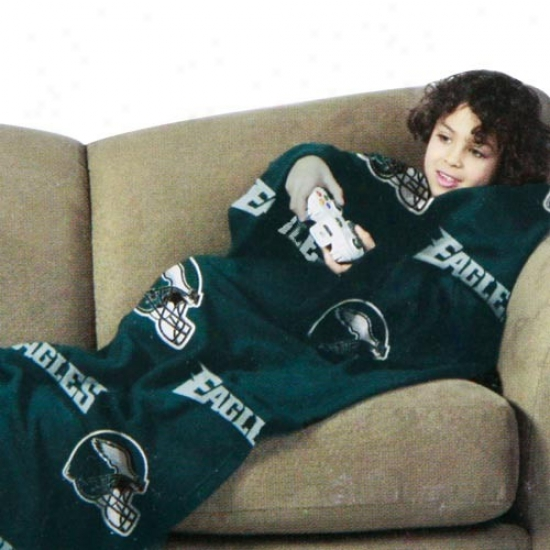 Philadelphia Eagles Green Team Helmet Print Youth Comfy Throw