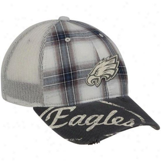 Philadelphia Eagles Hat : Reebok Philadelphia Eagles Gray Plaid Mesh Back Slouch Adjustable Hat
