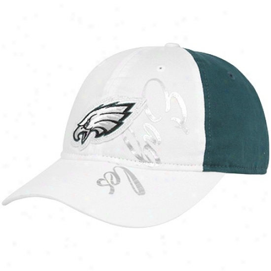 Philadelphia Eagles Hats : Reebok Philadelphia Eagles Ladies White-green Slouch Adjustable Hats