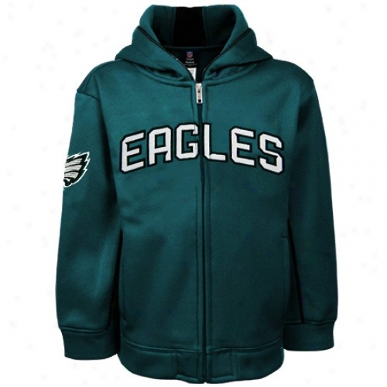 Philadelpphia Eagles Hoodie : R3ebok Philadelphia Eagles Pr3school Green Captain Full Zip Hoodie Jacket