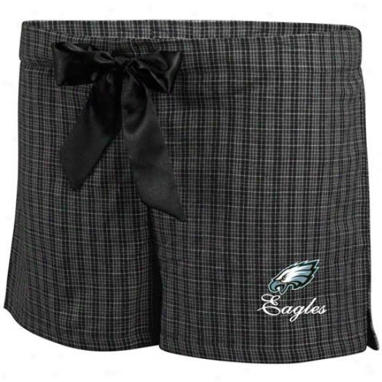 Philadelphia Eagles Ladies Black Plaid Monday Night Football Bozer Shorts