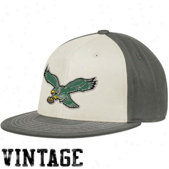 Philadelphia Eagles Merchandise: Reebok Philadelphia Eagles White-gray Thrrowback 210 Fitted Hat