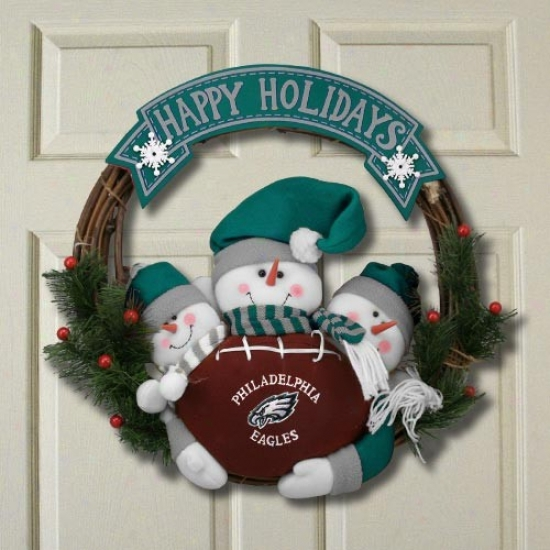 Philadelphia Eagles Three Snowmen Happy Holidays Wreath