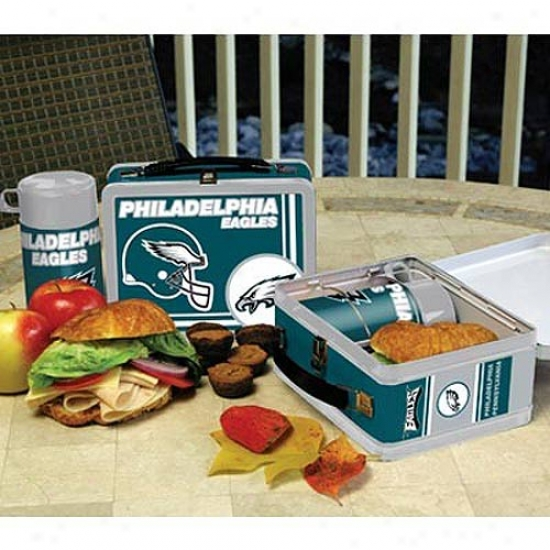 Philadelphia Eagles Tin Lunch Box With Thermos