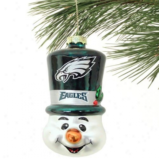 Philadelphia Eagles Top Hat Snowman Blown Glass Ornament