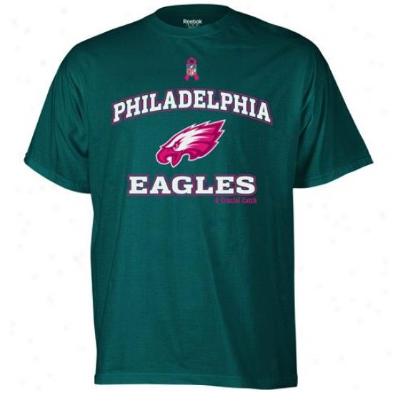 Philadelphia Eagles Tsihrts : Reebok Philaelphia Eagles Green Breast Cance Awareness Tshirts