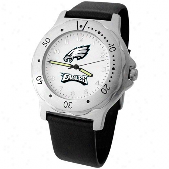 Philadelphia Eagles Wrist Watch : Philadelphia Eagles Men's Black Leather Team Player Wrist Watch