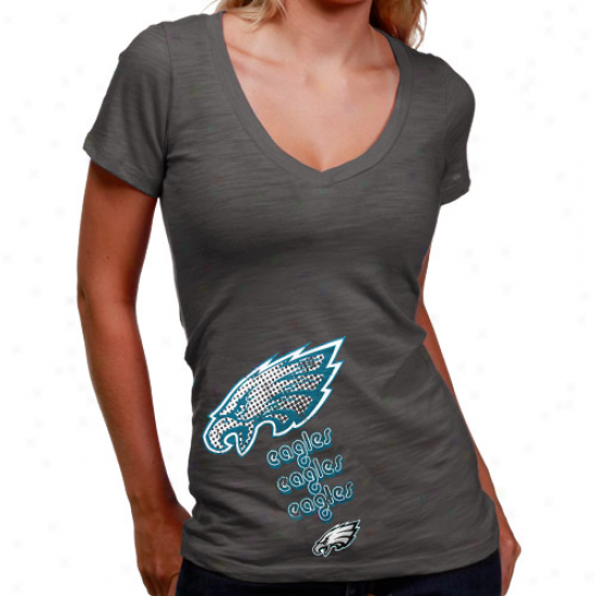 Philly Eagle Attire: Philly Eagle Ladies G5aphite Triple Play V-neck Slub T-shirt
