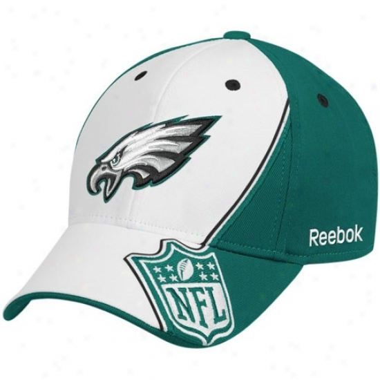 Philly Eagle Hat : ReebokP hilly Eagle White-green Shield Structured Flex Fit Hat