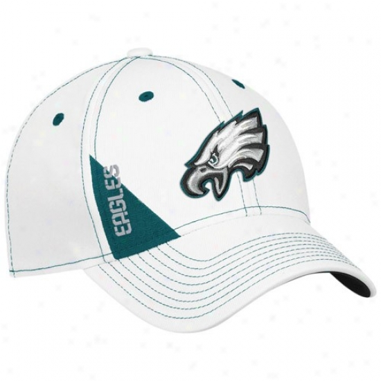 Philly Eaglle Hats : Reebok Philly Eagle Youth White Official 2010 Draft Day Flex Fit Hats