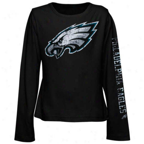 Philly Eagle Shirt : Reebok Philly Eagle Youth Girls Distressed Giant Logo Long Sleeve Shirt