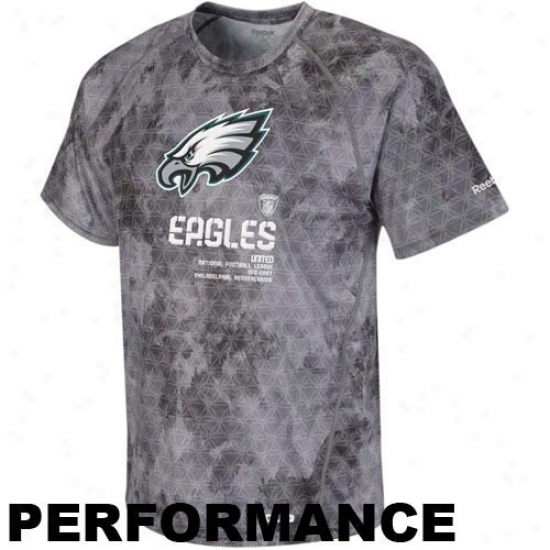 Philly Eagle T-shirt : Reebok Philly Eagle Gray-haired Sideline United Digital Print Speedwick Performance T-shirt