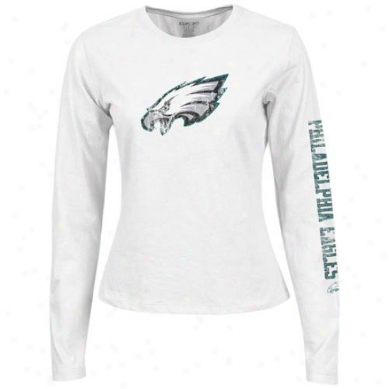 Philly Eagles Apparel: Reebok Philly Eagles Ladies White Giant Logo Too Long Sleeve T-shirt