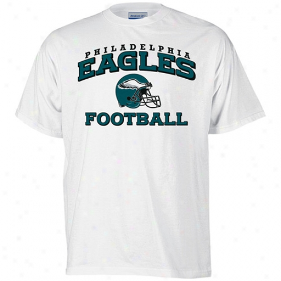 Philly Eagles Apparel: Reebok Philky Eagles White Stacked Helmet T-shirt