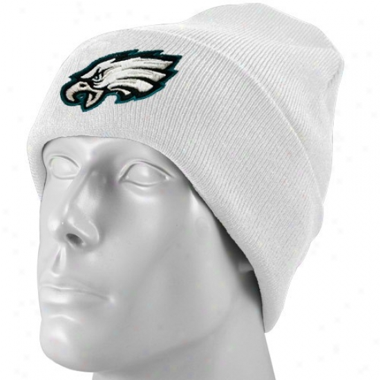 Philly Eagles Hats : Reebok Philly Eagles White Basic Logo Cuffed Beanie