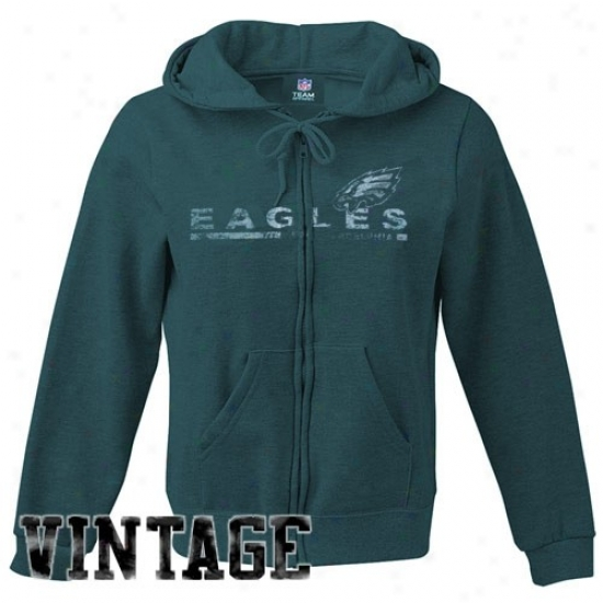 Philly Eagles Hoodys : Philly Eagles Ladies Green Classic Football Full Zip Vintage Hoodys