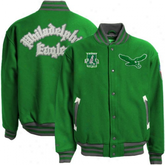 Philly Eagles Jackets : Mitchell & Ness Philly Eagles Green Halfback Throwback Wool Jackets