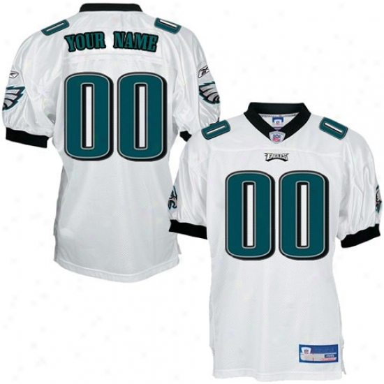 Philly Eagles Jersey : Reebok Nfl Equipment Philly Eagles White Authentic Customjzed Jersey