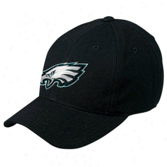 Philly Eagles Merchandise: Reebok Philly Eagles Black Basic Loto Wool Blend Adjustable Hat