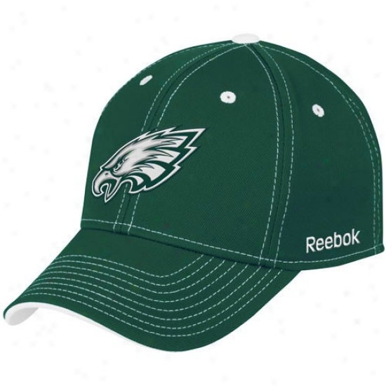 Philly Eagles Merchandise: Reebok Philly Eagles Green Tonal Tsam Logo Flex Fit Hat