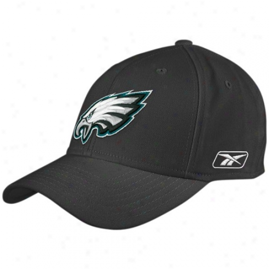Philly Eagles Merchandise: Reebok Philly Eagles Black Coaches Flex Hat